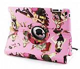 iPad 2 / iPad 3 / iPad 4 360 Derece D�ner Standl� Fashion Girls Pembe Deri K�l�f