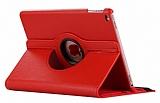 iPad 9.7 2017 360 Derece Döner Standlı Kırmızı Deri Kılıf