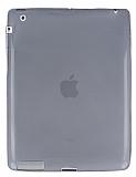 iPad 2 / 3 / 4 Ultra İnce Şeffaf Siyah Silikon Kılıf