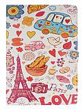iPad Air Paris Love Standl� Yan Kapakl� Deri K�l�f