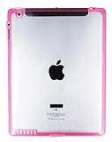 iPad 2 / iPad 3 / iPad 4 Pembe Silikon Kenarl� �effaf Rubber K�l�f