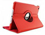 iPad Mini 2 / Mini 3 360 Derece D�ner Standl� K�rm�z� Deri K�l�f
