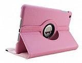 iPad Mini 2 / Mini 3 360 Derece D�ner Standl� Pembe Deri K�l�f