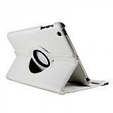 iPad Mini 360 Derece Döner Standlı Beyaz Deri Kılıf