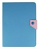 iPad Mini / Mini 2 / Mini 3 Standlı Cüzdanlı Mavi Deri Kılıf