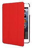 iPad Mini 2 / Mini 3 Standlı Yan Kapaklı Kırmızı Deri Kılıf