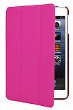 iPad Mini 2 / Mini 3 Standl� Yan Kapakl� Pembe Deri K�l�f
