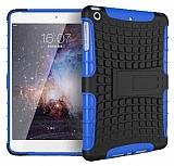 iPad Mini / Mini 2 / Mini 3 Ultra Süper Koruma Standlı Mavi Kılıf