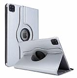 iPad Pro 12.9 2020 360 Derece Döner Standlı Silver Deri Kılıf