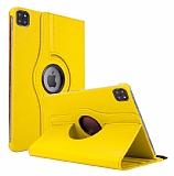 iPad Pro 12.9 2020 360 Derece Döner Standlı Sarı Deri Kılıf