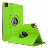 iPad Pro 12.9 2020 360 Derece Döner Standlı Yeşil Deri Kılıf