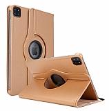 iPad Pro 12.9 2020 360 Derece Döner Standlı Gold Deri Kılıf