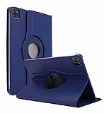 iPad Pro 12.9 2020 360 Derece Döner Standlı Lacivert Deri Kılıf