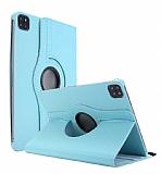 iPad Pro 12.9 2020 360 Derece Döner Standlı Mavi Deri Kılıf