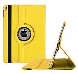 Apple iPad Pro 9.7 360 Derece Döner Standlı Sarı Deri Kılıf