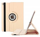 Apple iPad Pro 9.7 360 Derece Döner Standlı Gold Deri Kılıf