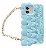 iPhone 11 Askılı Kalpli Mavi Silikon Kılıf