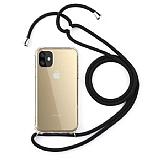 iPhone 11 Siyah Askılı Şeffaf Silikon Kılıf