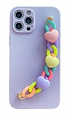 iPhone 11 Pro Bilek Askılı Zincirli Kamera Korumalı Mor Kılıf