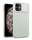 iPhone 11 Kaydırmalı Kamera Korumalı Açık Yeşil Silikon Kılıf