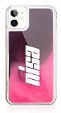 iPhone 11 Kişiye Özel Neon Kumlu Pembe Silikon Kılıf