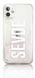 iPhone 11 Kişiye Özel Simli Sulu Beyaz Rubber Kılıf