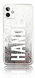 iPhone 11 Kişiye Özel Simli Sulu Silver Rubber Kılıf