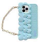 iPhone 11 Pro Askılı Kalpli Mavi Silikon Kılıf