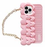 iPhone 11 Pro Askılı Kalpli Pembe Silikon Kılıf