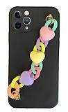 iPhone 11 Pro Max Bilek Askılı Zincirli Kamera Korumalı Siyah Kılıf