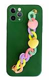 iPhone 11 Pro Max Bilek Askılı Zincirli Kamera Korumalı Yeşil Kılıf