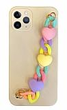 iPhone 11 Pro Max Bilek Askılı Zincirli Kamera Korumalı Krem Kılıf