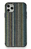 iPhone 11 Pro Mavi Örgü Kumaş Silikon Kılıf
