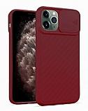 iPhone 11 Pro Kaydırmalı Kamera Korumalı Bordo Silikon Kılıf