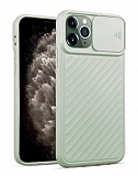iPhone 11 Pro Kaydırmalı Kamera Korumalı Açık Yeşil Silikon Kılıf