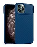 iPhone 11 Pro Max Kaydırmalı Kamera Korumalı Lacivert Silikon Kılıf