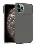 iPhone 11 Pro Max Kaydırmalı Kamera Korumalı Gri Silikon Kılıf