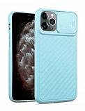 iPhone 11 Pro Max Kaydırmalı Kamera Korumalı Mavi Silikon Kılıf