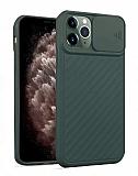 iPhone 11 Pro Max Kaydırmalı Kamera Korumalı Koyu Yeşil Silikon Kılıf