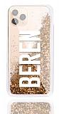 iPhone 11 Pro Max Kişiye Özel Simli Sulu Gold Rubber Kılıf