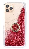 iPhone 11 Pro Max Simli Sulu Yüzük Tutuculu Kırmızı Rubber Kılıf