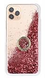 iPhone 11 Pro Max Simli Sulu Yüzük Tutuculu Rose Gold Rubber Kılıf
