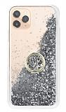 iPhone 11 Pro Max Simli Sulu Yüzük Tutuculu Silver Rubber Kılıf