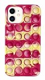 iPhone 12 / 12 Pro 6.1 inç Push Pop Bubble Sarı-Pembe Kılıf