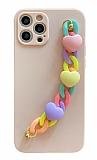 iPhone 12 Pro 6.1 inç Bilek Askılı Zincirli Kamera Korumalı Pembe Kılıf