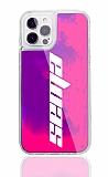iPhone 12 / iPhone 12 Pro 6.1 inç Kişiye Özel Neon Kumlu Mor Silikon Kılıf