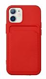 iPhone 12 Mini 5.4 inç Kartlıklı Kırmızı Kılıf