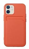 iPhone 12 Mini 5.4 inç Kartlıklı Turuncu Kılıf