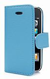 iPhone 3G / 3GS Standlı Cüzdanlı Mavi Deri Kılıf