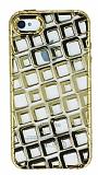 iPhone 4 / 4S Kare Desenli Gold Silikon K�l�f